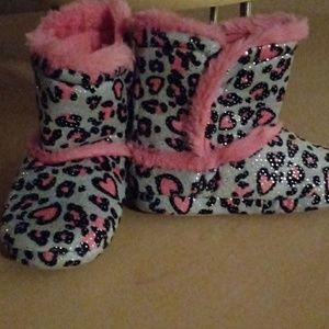Pink Glitter Hearts Faux Fur Bootie Slippers